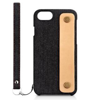 NUNO カードポケット 背面バンド付きファブリックケース ブラックデニム iPhone 7 Plus