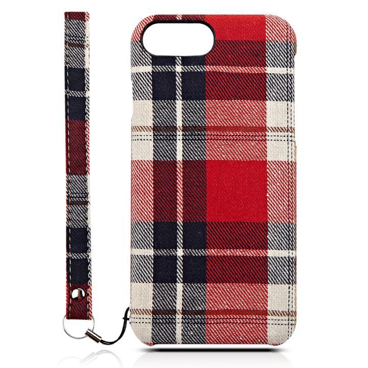 NUNO カードポケット ファブリックケース レッドチェック iPhone 7
