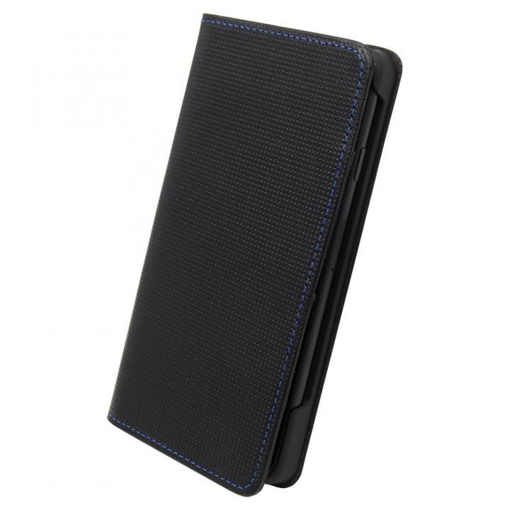 ナイトスクープ7 手帳型レザーケース ブルーステッチ