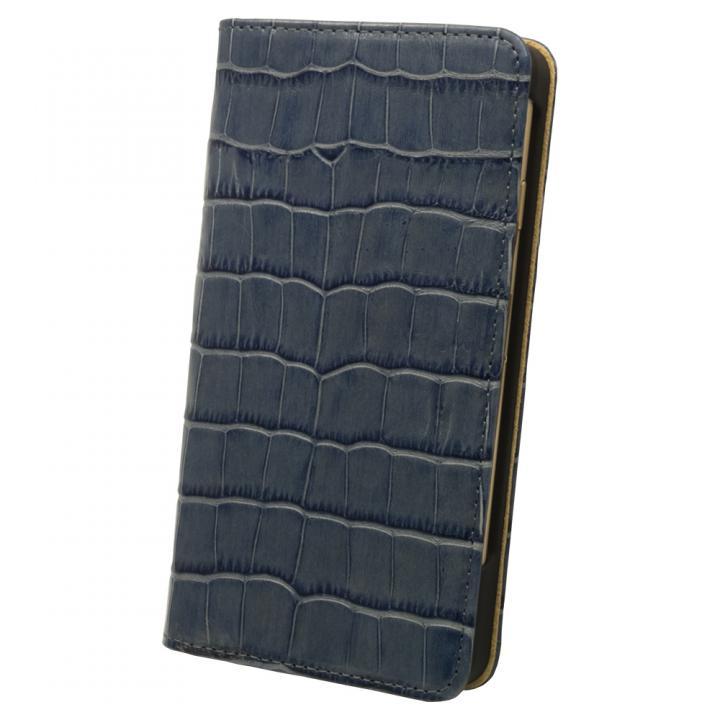ロトス7 手帳型レザーケース ブルー