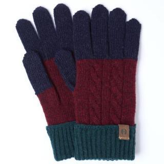 スマホ対応手袋 iTouch Gloves CABLE ネイビー/ワイン