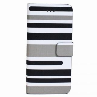 【iPhone6s Plus/6 Plusケース】ボーダー手帳型レザーケース グレー iPhone 6s Plus/6 Plusケース