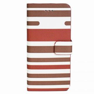 ボーダー手帳型レザーケース ブラウン iPhone 6 Plusケース