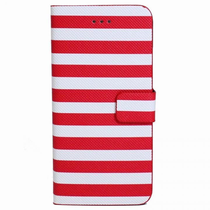 iPhone6 Plus ケース ボーダー手帳型レザーケース レッド×ホワイト iPhone 6 Plusケース_0