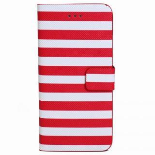 ボーダー手帳型レザーケース レッド×ホワイト iPhone 6 Plusケース