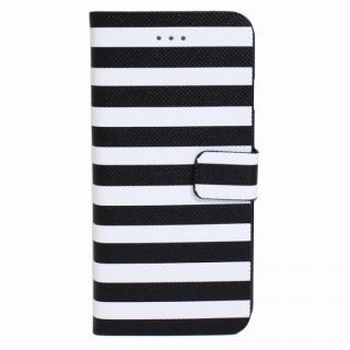 ボーダー手帳型レザーケース ブラック×ホワイト iPhone 6 Plusケース
