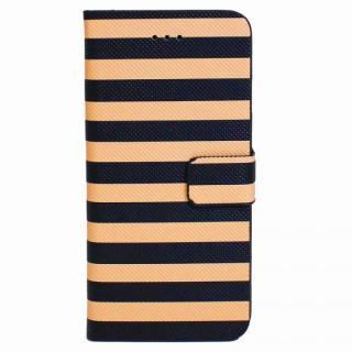 ボーダー手帳型レザーケース ブラック×ベージュ iPhone 6 Plusケース