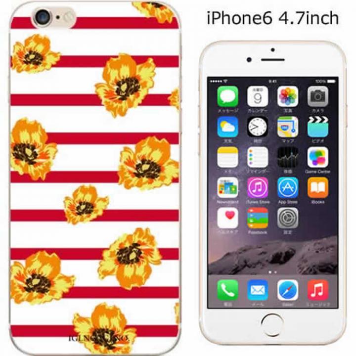 【iPhone6ケース】コーディネートカラーハードケース iglno iglno. フラワー ボーダー(レッド) iPhone 6ケース_0