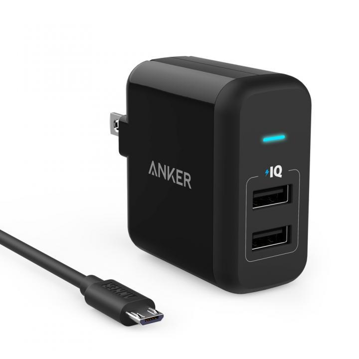 [4周年特価]Anker PowerPort 2 ブラック+Micro USBケーブル 0.9m ブラック
