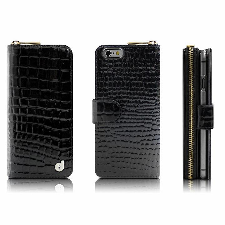 iPhone6s/6 ケース お財布付き手帳型ケース Zipper クロコエナメル ブラック iPhone 6s/6ケース_0