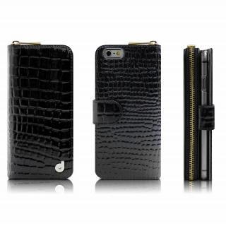 お財布付き手帳型ケース Zipper クロコエナメル ブラック iPhone 6s/6ケース