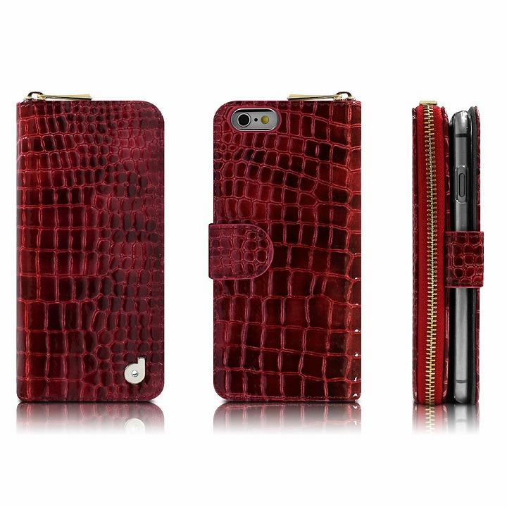 【iPhone6ケース】お財布付き手帳型ケース Zipper クロコエナメル レッド iPhone 6ケース_0