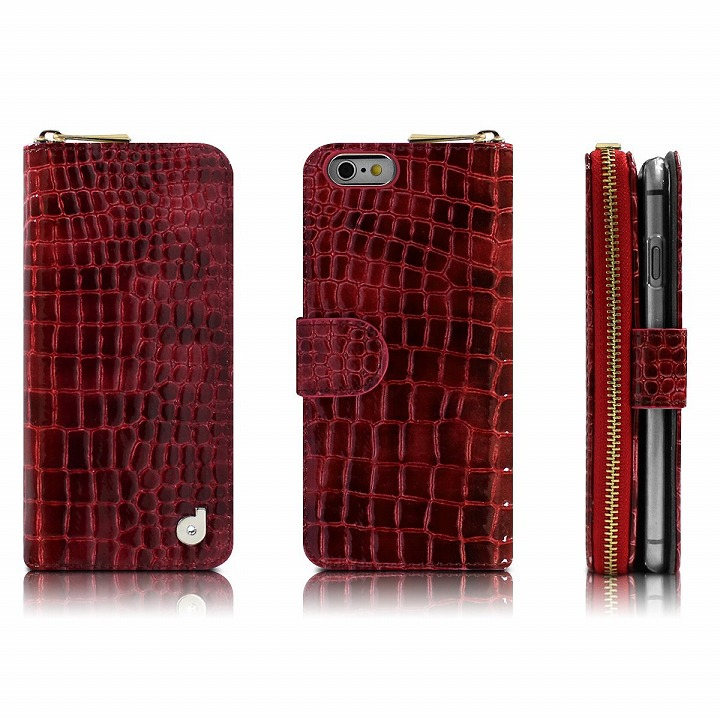 お財布付き手帳型ケース Zipper クロコエナメル レッド iPhone 6ケース