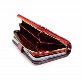 【iPhone6ケース】お財布付き手帳型ケース Zipper クロコエナメル レッド iPhone 6ケース_1