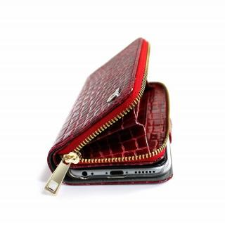 【iPhone6ケース】お財布付き手帳型ケース Zipper クロコエナメル レッド iPhone 6ケース_2