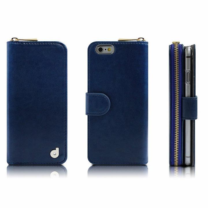 【iPhone6s/6ケース】お財布付き手帳型ケース Zipper ネイビー iPhone 6s/6ケース_0