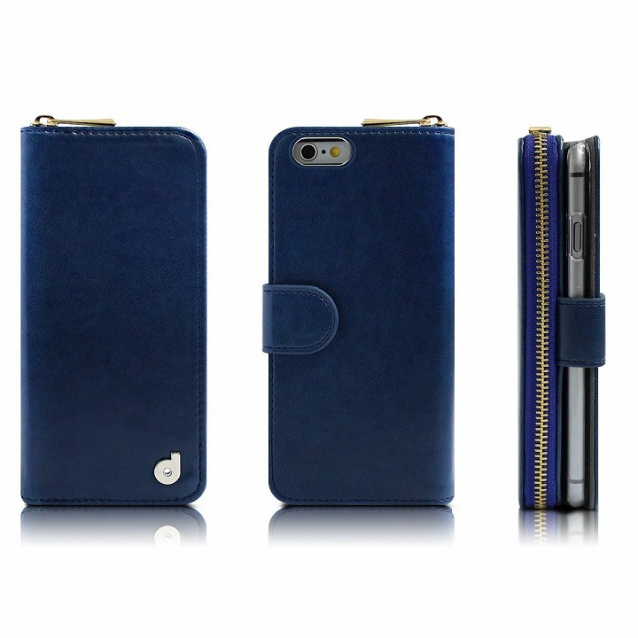 お財布付き手帳型ケース Zipper ネイビー iPhone 6s/6ケース