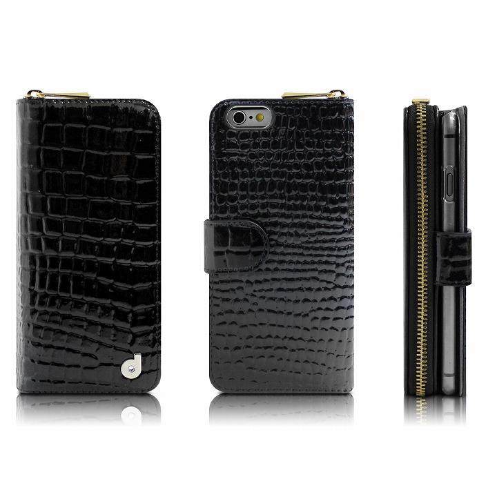 お財布付き手帳型ケース クロコエナメル ブラック iPhone 6 Plusケース