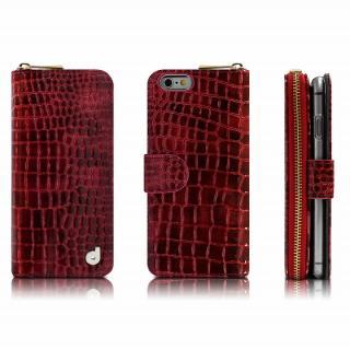 お財布付き手帳型ケース Zipper クロコエナメル レッド iPhone 6s Plus/6 Plusケース