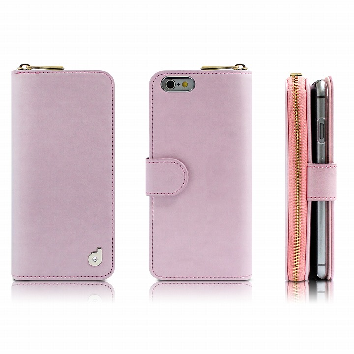 【iPhone6s Plus/6 Plusケース】お財布付き手帳型ケース Zipper ピンク iPhone 6s Plus/6 Plusケース_0