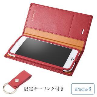 [期間限定]GRAMAS フルレザー手帳型ケース レザーキーリング付き レッド iPhone 6s/6
