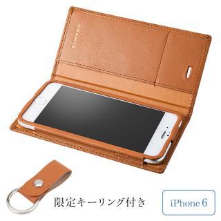 [期間限定]GRAMAS フルレザー手帳型ケース レザーキーリング付き タン iPhone 6s/6