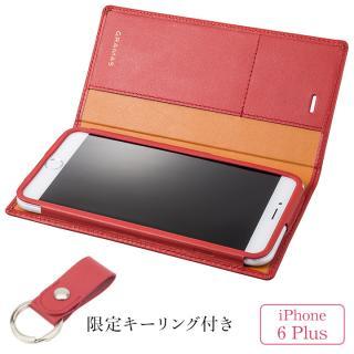 [期間限定]GRAMAS フルレザー手帳型ケース レザーキーリング付き レッド iPhone 6s Plus/6 Plus