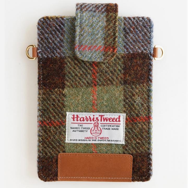 iPhone6s/6/SE ケース invite.L Harris Tweed スマホポーチ グリーンチェック_0