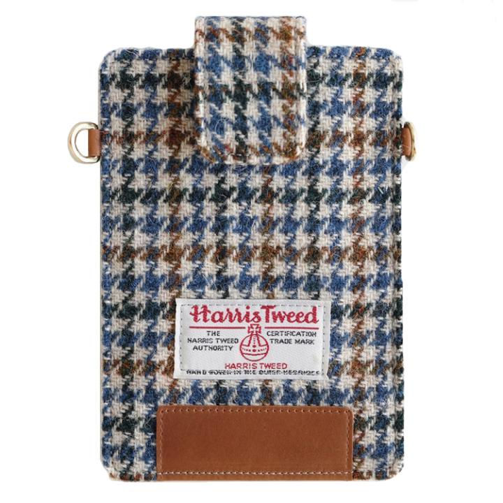 iPhone6s/6/SE ケース invite.L Harris Tweed スマホポーチ ブルーハウンドトゥース_0