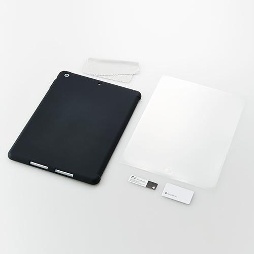iPad Air用 スマートカバー対応 抗菌シリコンケースセット(ブラック)