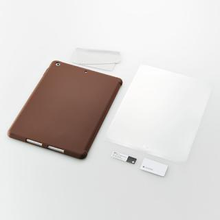 iPad Air用 スマートカバー対応 抗菌シリコンケースセット(ブラウン)