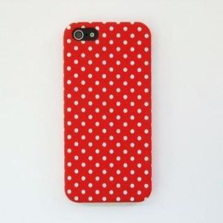 スマホの洋服屋 WHドット レッド iPhone 5ケース