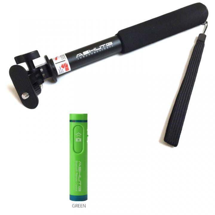 撮影セット Bluetoothリモコン 自撮り用スティック ホルダーセット AB4 グリーン_0