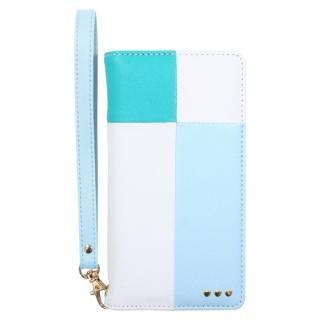 手帳型カラーブロックケース ブルー iPhone X