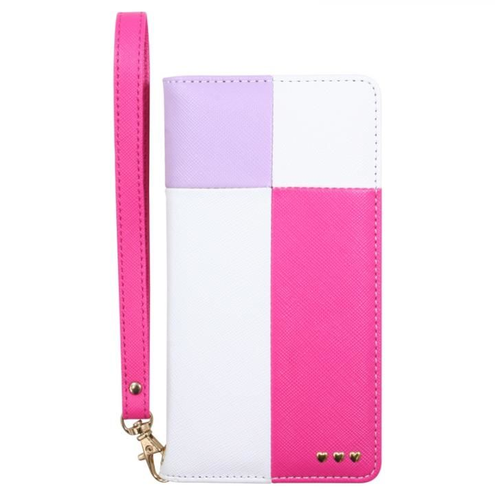 手帳型カラーブロックケース ピンク iPhone X