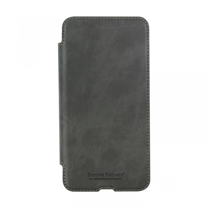 手帳型スリムケース グレー iPhone XS/X