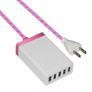 5USBポート イルミネーション 家庭用充電器 ピンク