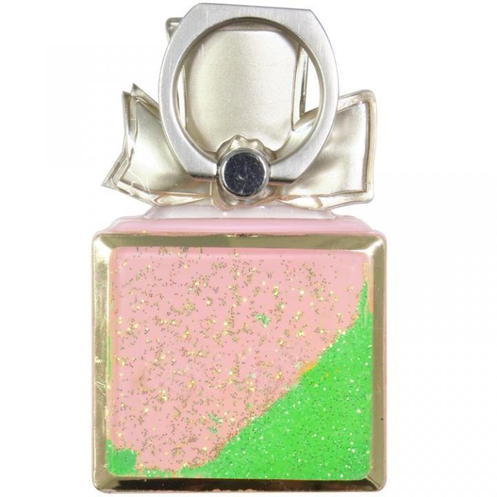 グリッター スマートフォンリング 香水型 グリーン_0