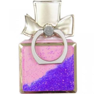 グリッター スマートフォンリング 香水型 パープル