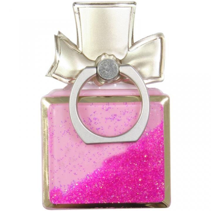 グリッター スマートフォンリング 香水型 ピンク