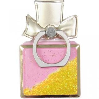 グリッター スマートフォンリング 香水型 イエロー