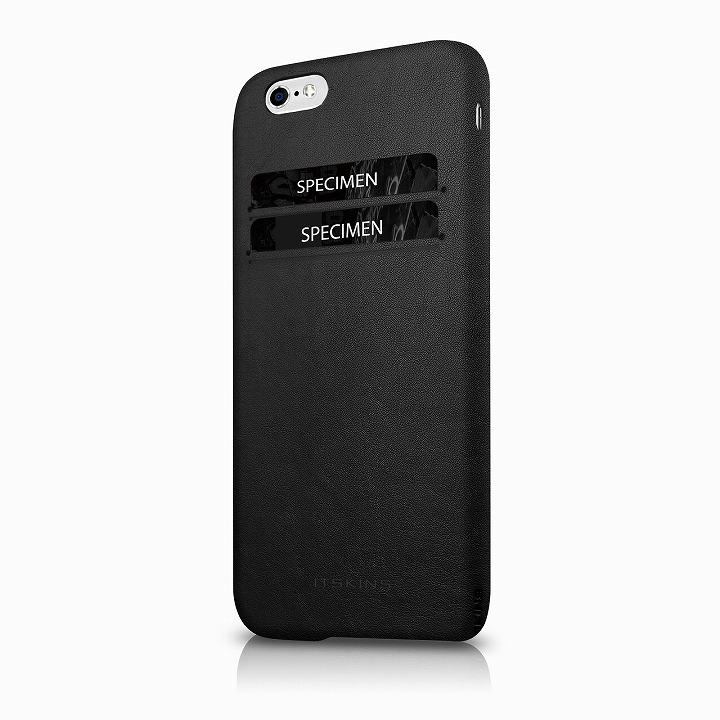 ITSKINS 背面カードホルダー付き合皮ケース CORSA ブラック iPhone 6s/6ケース