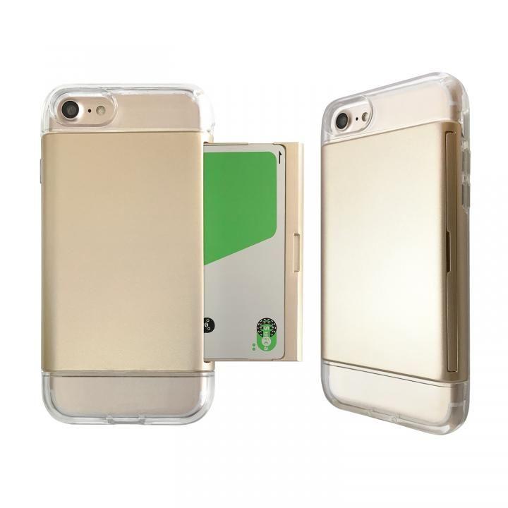 iPhone8/7 ケース Alex 透明TPU+カード収納ケース ゴールド iPhone 8/7_0