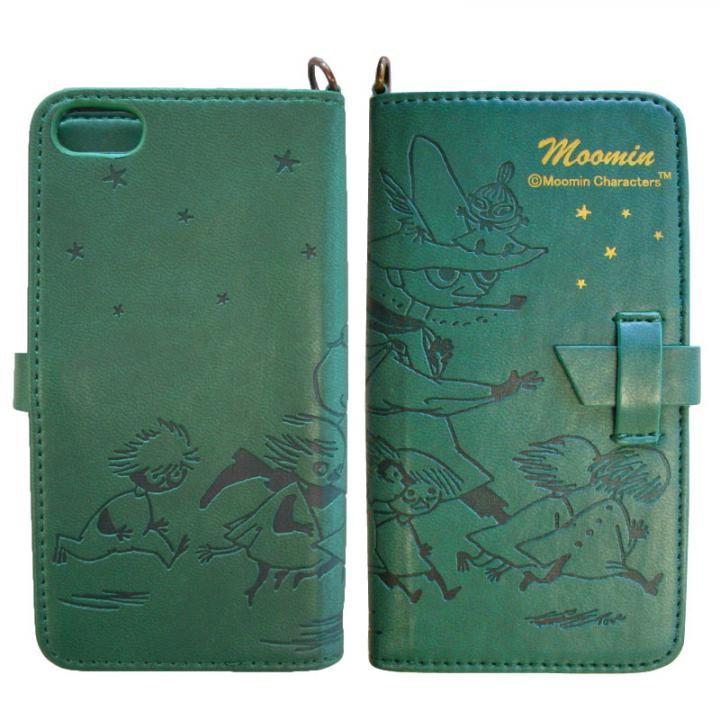 iPhone SE/5s/5 ケース ムーミン イタリアンPU book  style iPhone5 (スナフキン/ホシ/グリーン)_0