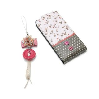 【iPhone SE/5s/5ケース】iPhone5 Fabric Country ストラップ付 ピンク_3
