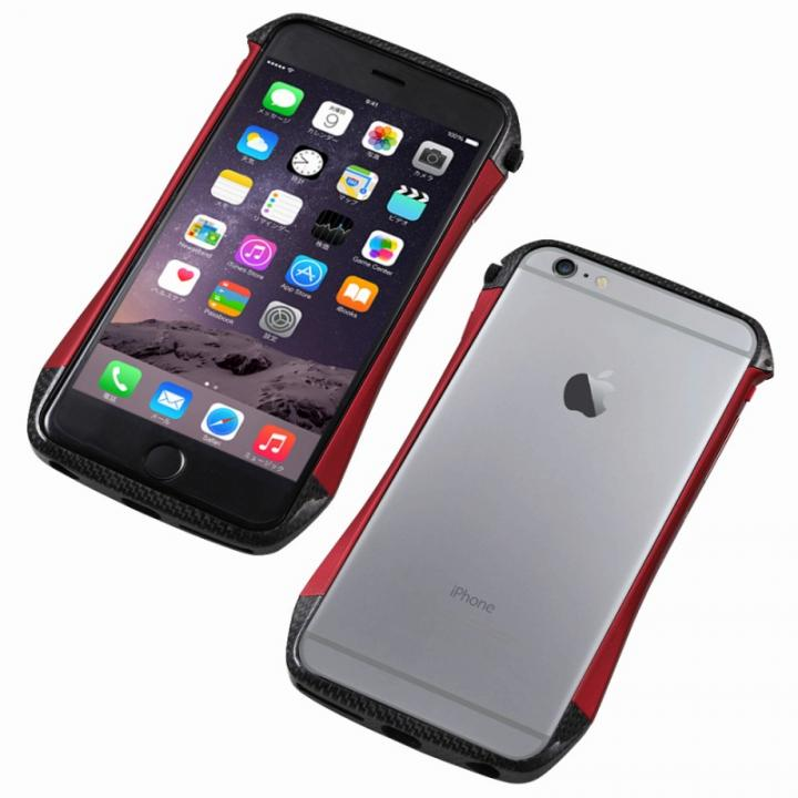 CLEAVE アルミ&カーボンファイバー ハイブリッドバンパー レッド iPhone 6s/6