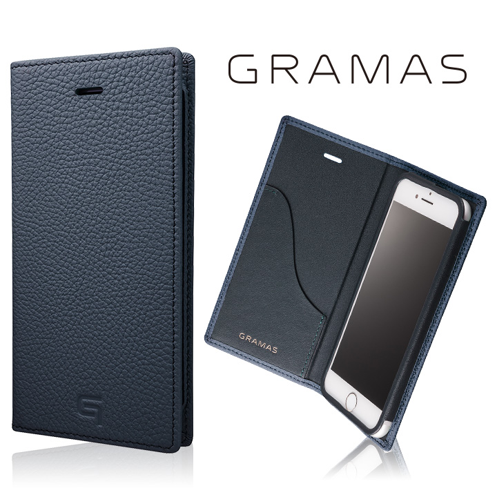 iPhone8/7 ケース GRAMAS シュランケンカーフ 手帳型レザーケース ネイビー iPhone 8/7_0