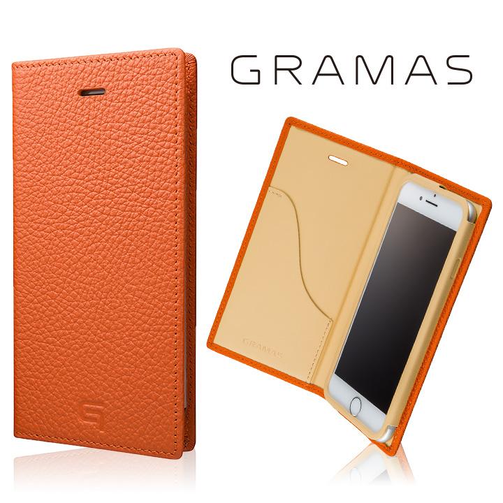 iPhone8/7 ケース GRAMAS シュランケンカーフ 手帳型レザーケース オレンジ iPhone 8/7_0