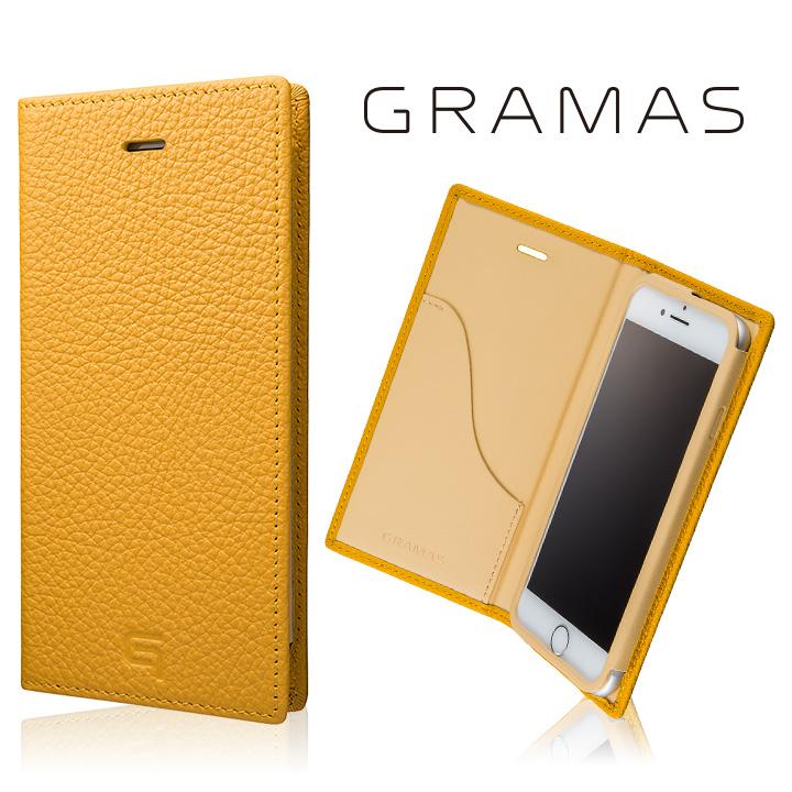 GRAMAS シュランケンカーフ 手帳型レザーケース イエロー
