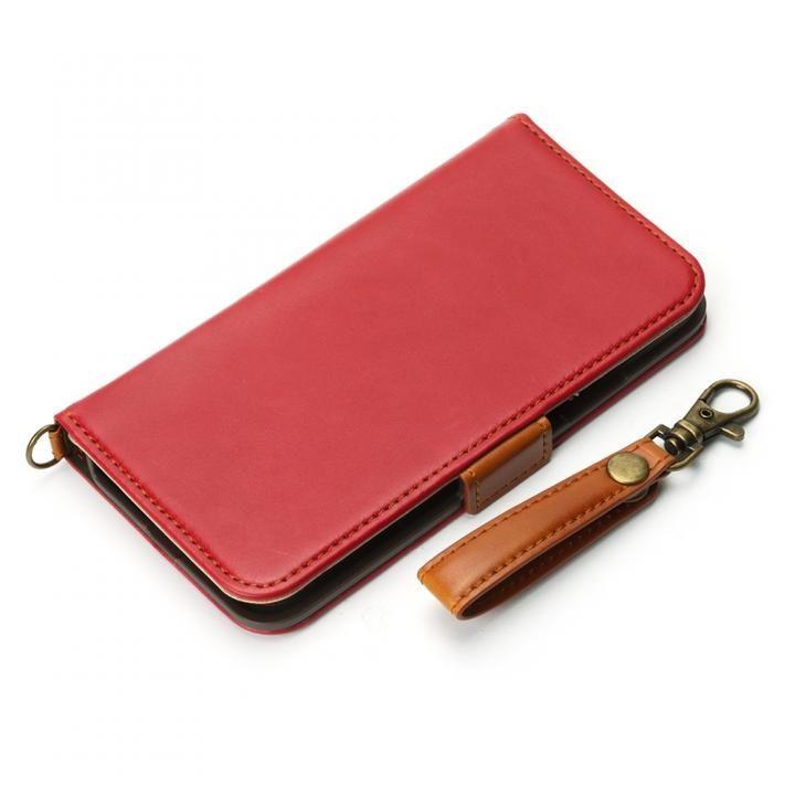 Premium Style 手帳型ケース PUレザーダメージ加工 ワインレッド iPhone XS/X